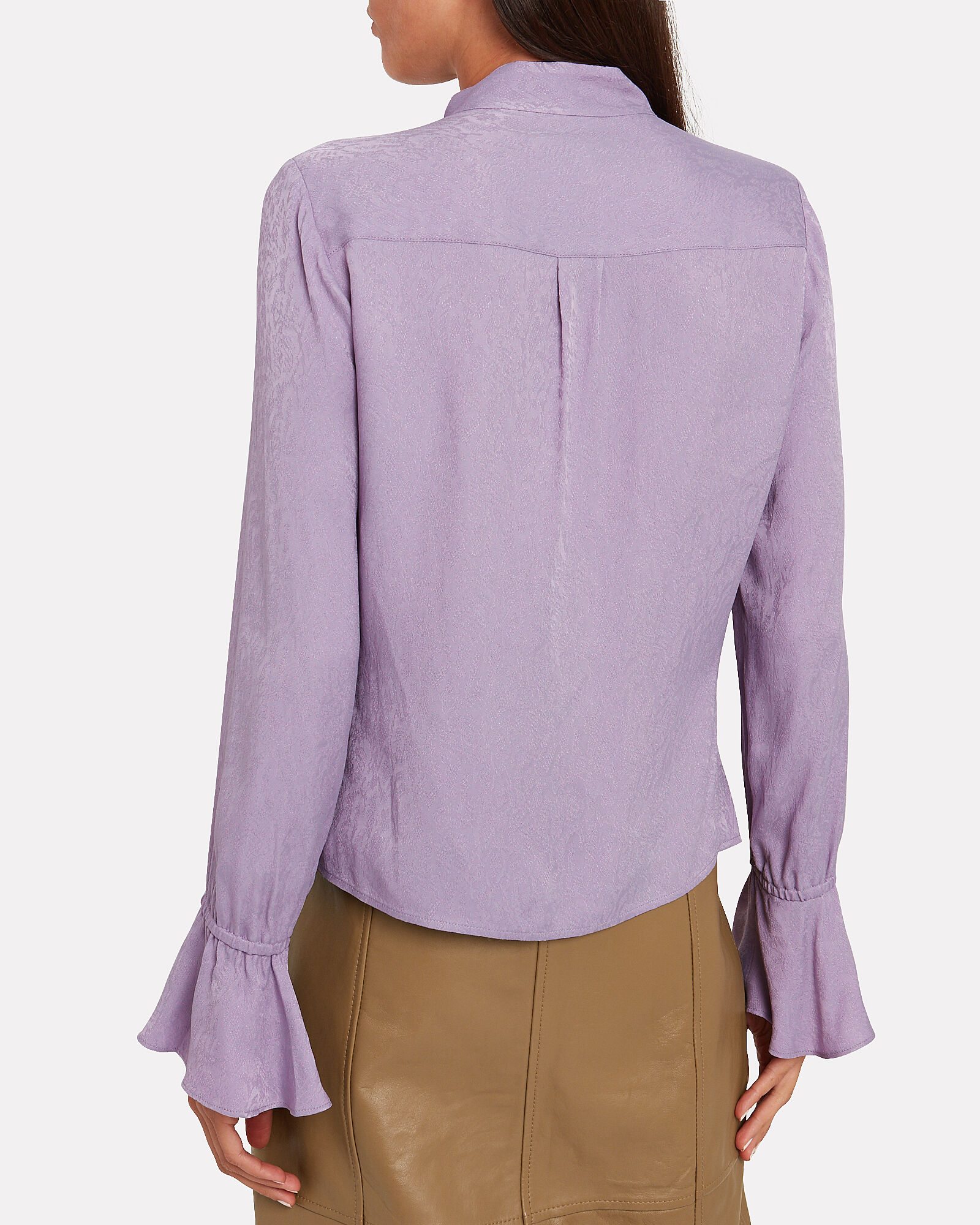 Snake Jacquard Silk Blouse, PURPLE-LT, hi-res
