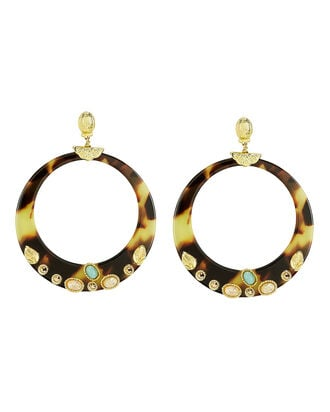 Lodge Cabochon Hoop Earrings, BROWN/CREAM, hi-res