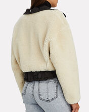Cropped Bonded Teddy Jacket, IVORY, hi-res