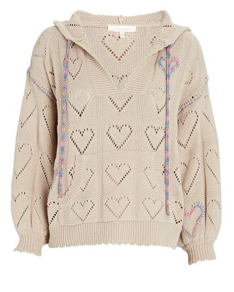 Meara Hooded Pointelle Sweater, BEIGE, hi-res