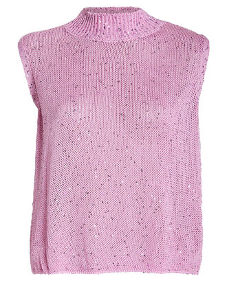 Sequin-Embellished Sleeveless Sweater, PINK, hi-res