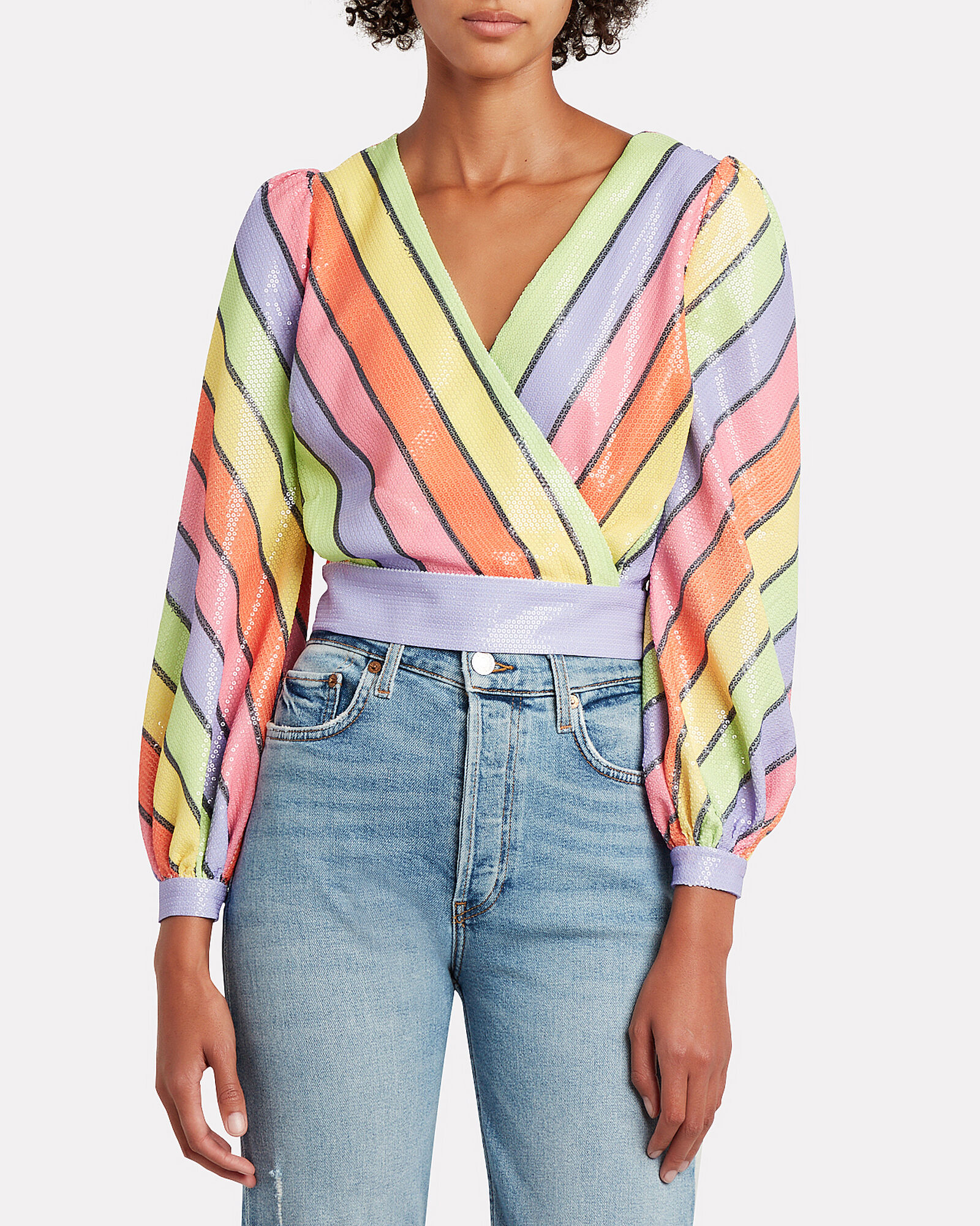 Kendall Striped Sequined Blouse, MULTI, hi-res