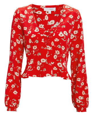 Britta Silk Floral Top, RED, hi-res
