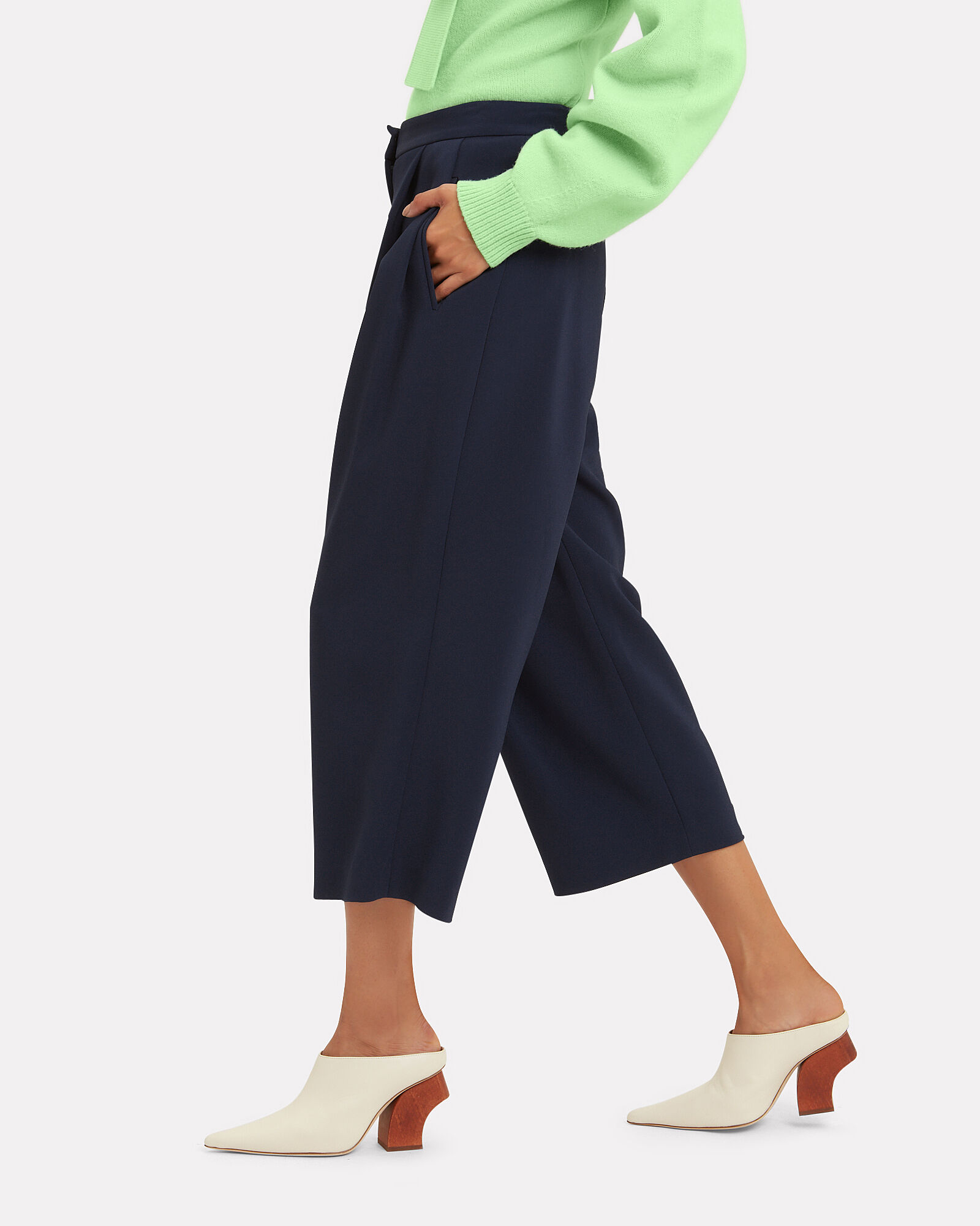 Cady Pleat Front Navy Culottes, NAVY, hi-res