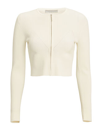 Zip Front Knit Cardigan, IVORY, hi-res