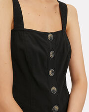 Gianna Button Front Linen Crop Top, BLACK, hi-res