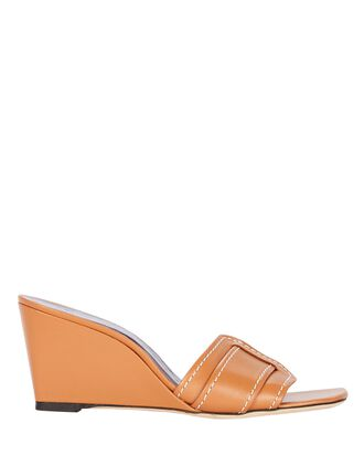 Sylvie Buckle Wedge Sandals, BROWN, hi-res