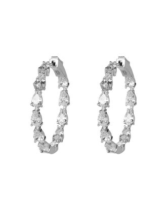 Gil Crystal Stone Hoop Earrings, CLEAR, hi-res