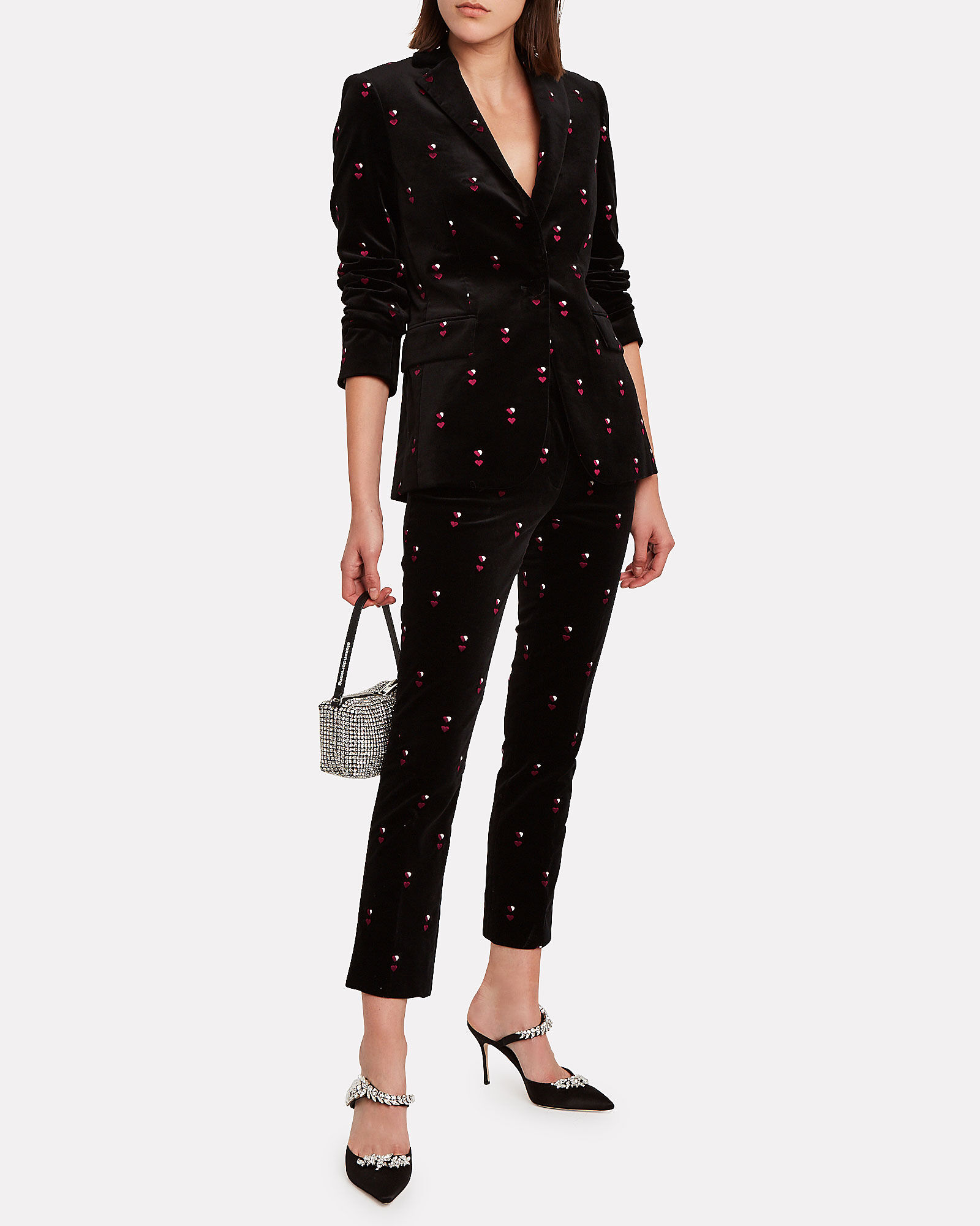 Perfect Heart-Embroidered Velvet Trousers, BLACK, hi-res