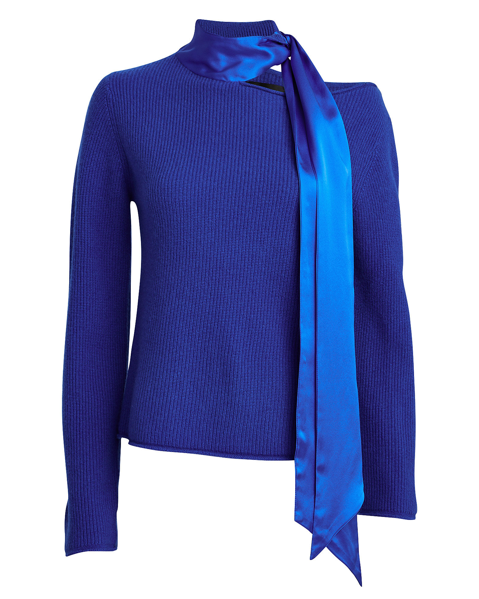 Millie Cashmere Silk Scarf Sweater, BLUE-MED, hi-res