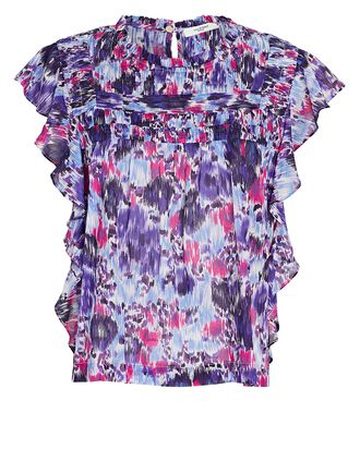 Layona Abstract Floral Flutter Sleeve Top, MULTI, hi-res