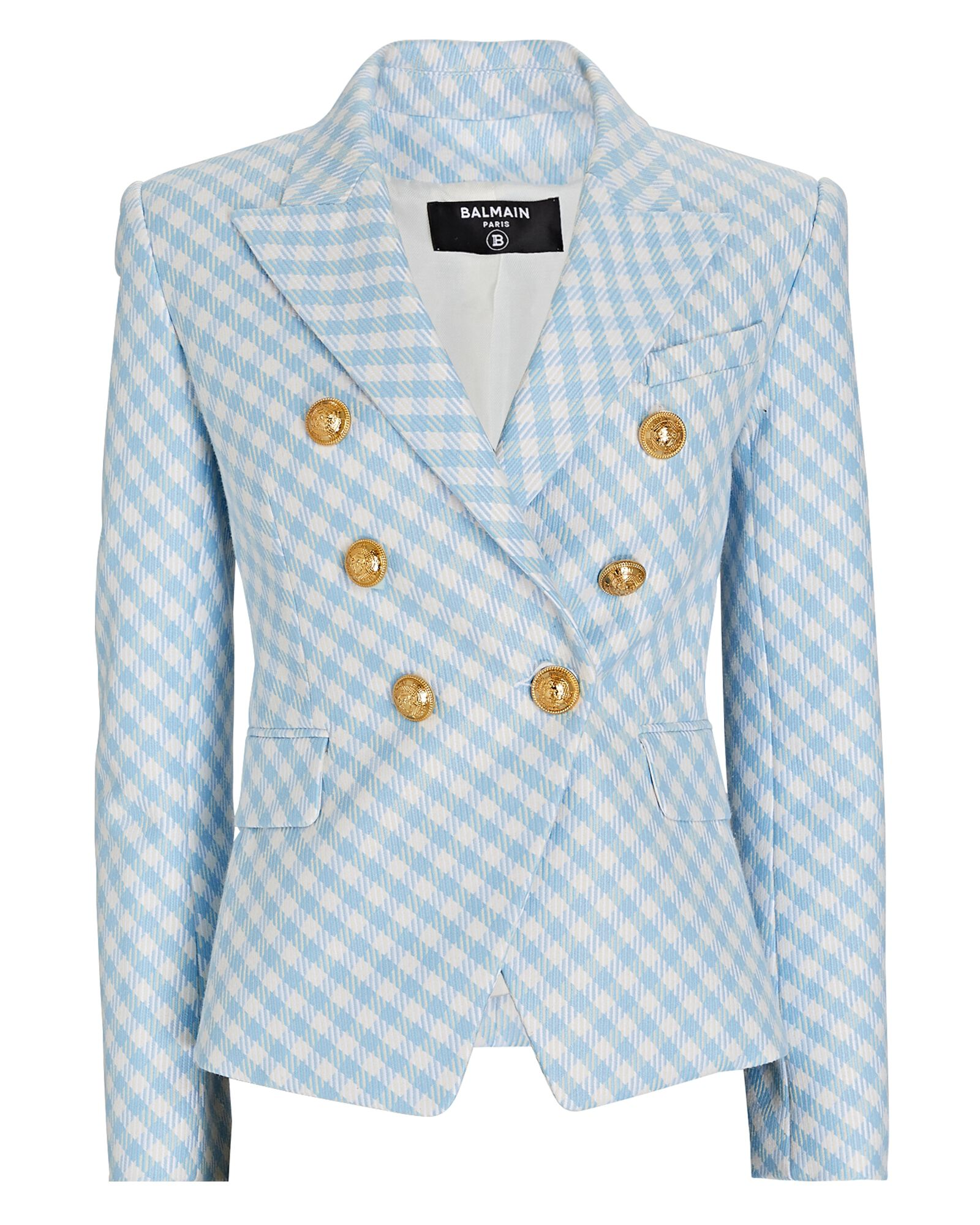 Gingham Double-Breasted Blazer, BLUE/WHITE, hi-res