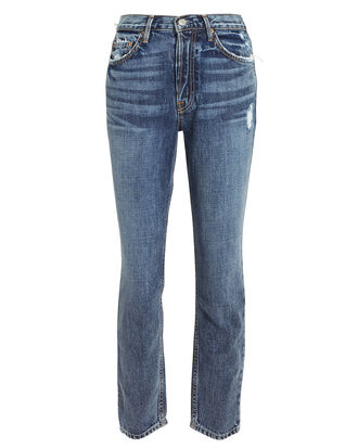 Karolina High-Rise Faded Blue Jeans, DENIM, hi-res