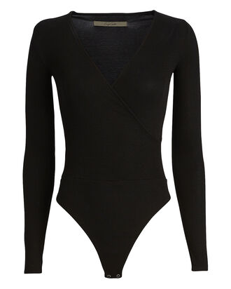 Ribbed Jersey Overlap Bodysuit, BLACK, hi-res