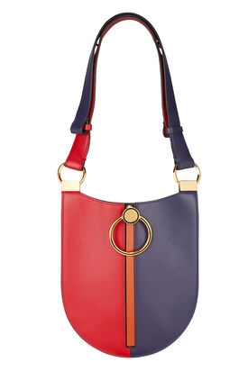Earring Colorblock Small Oval Bag, RED/PURPLE, hi-res