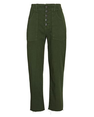 Arya Cargo Straight Crop Jeans, FOREST GREEN, hi-res