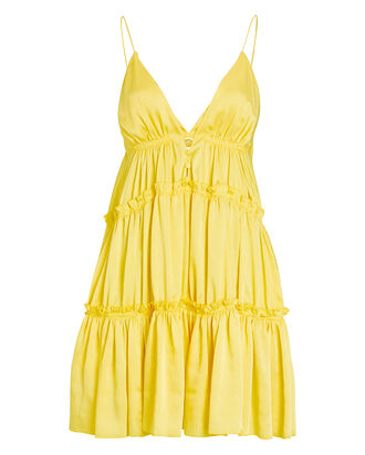 Isla Tiered Satin Mini Dress, YELLOW, hi-res