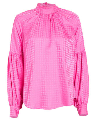 Cicely Houndstooth Jacquard Silk Blouse, BRIGHT PINK/HOUNDSTOOTH, hi-res