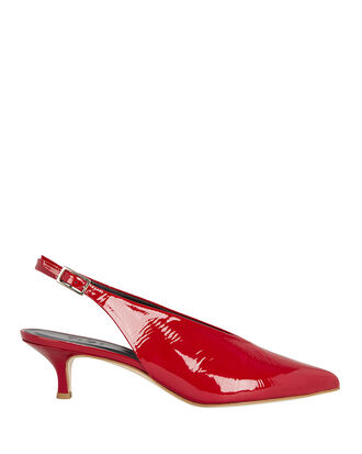 Lia Patent Leather Mules, RED, hi-res