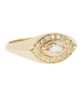 Marquis Diamond Signet Ring, GOLD, hi-res