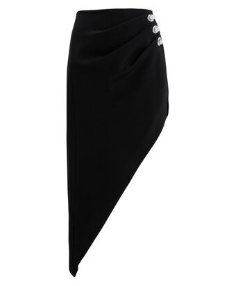 Crystal-Embellished Ruched Skirt, BLACK, hi-res