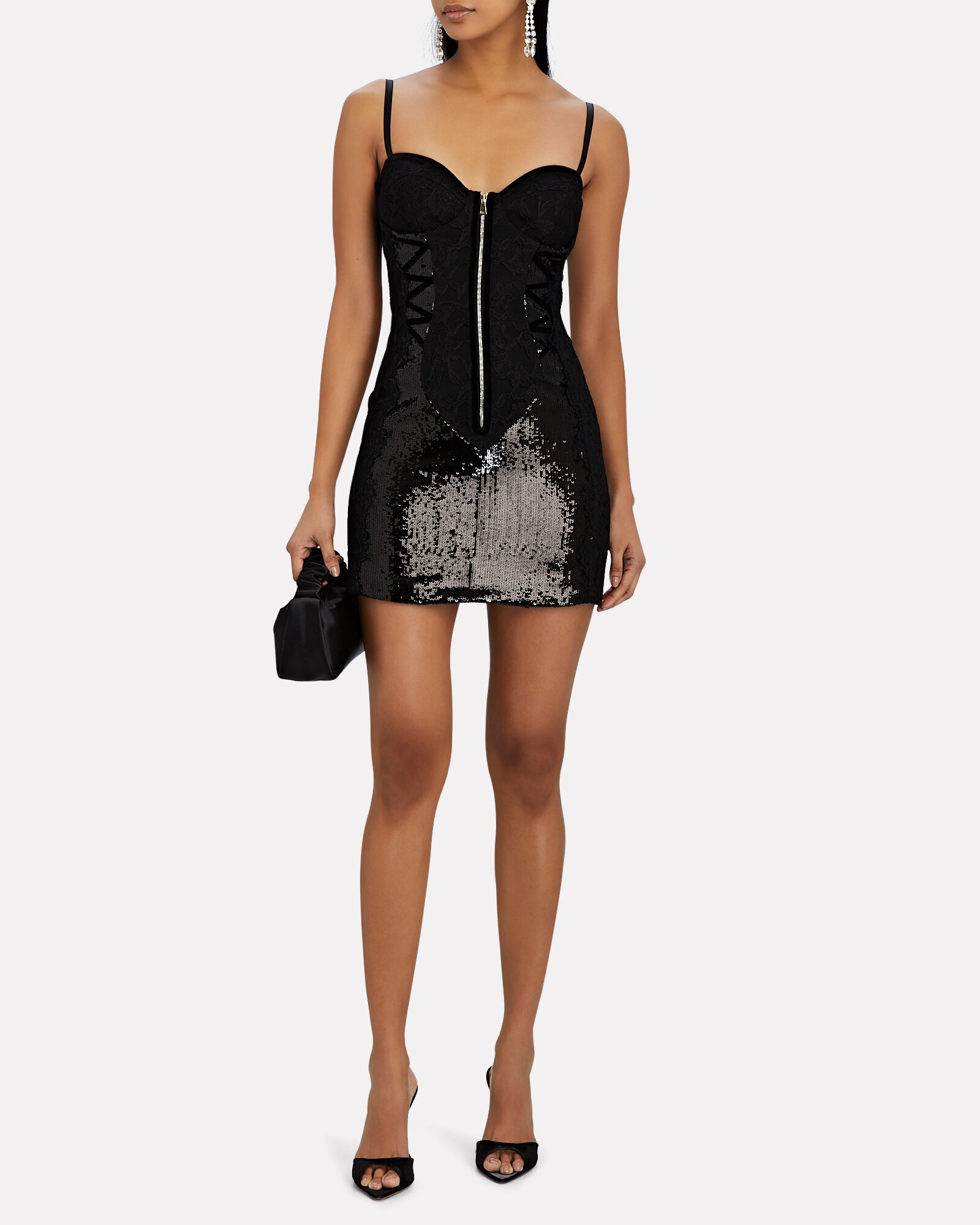 Sequin Zip-Front Mini Dress, BLACK, hi-res