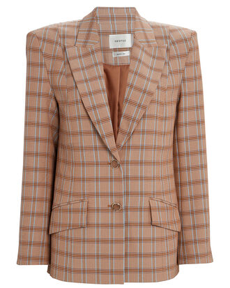 Jin Plaid Blazer, TAN/PLAID, hi-res