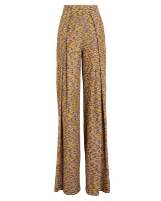 Double Pleated Wide Leg Pants, BROWN/METALLIC, hi-res