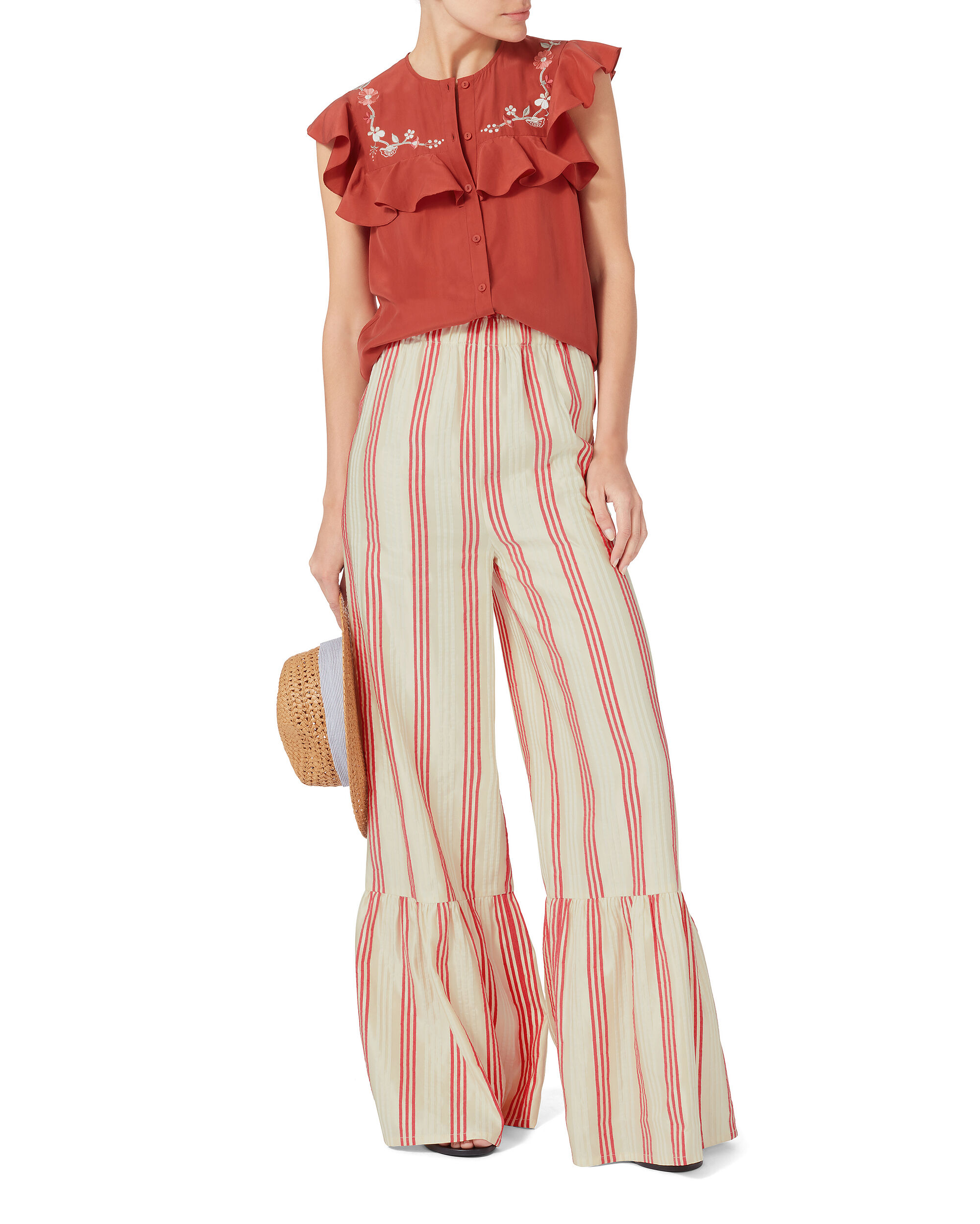 Cecile Striped Wide Leg Pants, STRIPE, hi-res