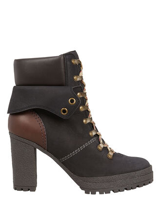 Suede Lace-Up Combat Boots, BLACK, hi-res