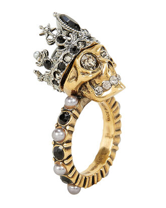 Queen Skull Ring, BLACK/WHITE, hi-res