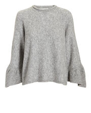 Ruffle Sleeve Grey Sweater, GREY-LT, hi-res