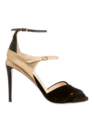 Velvet Strappy Sandals, BLACK, hi-res
