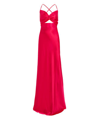 Twisted Silk Charmeuse Gown, HOT PINK, hi-res