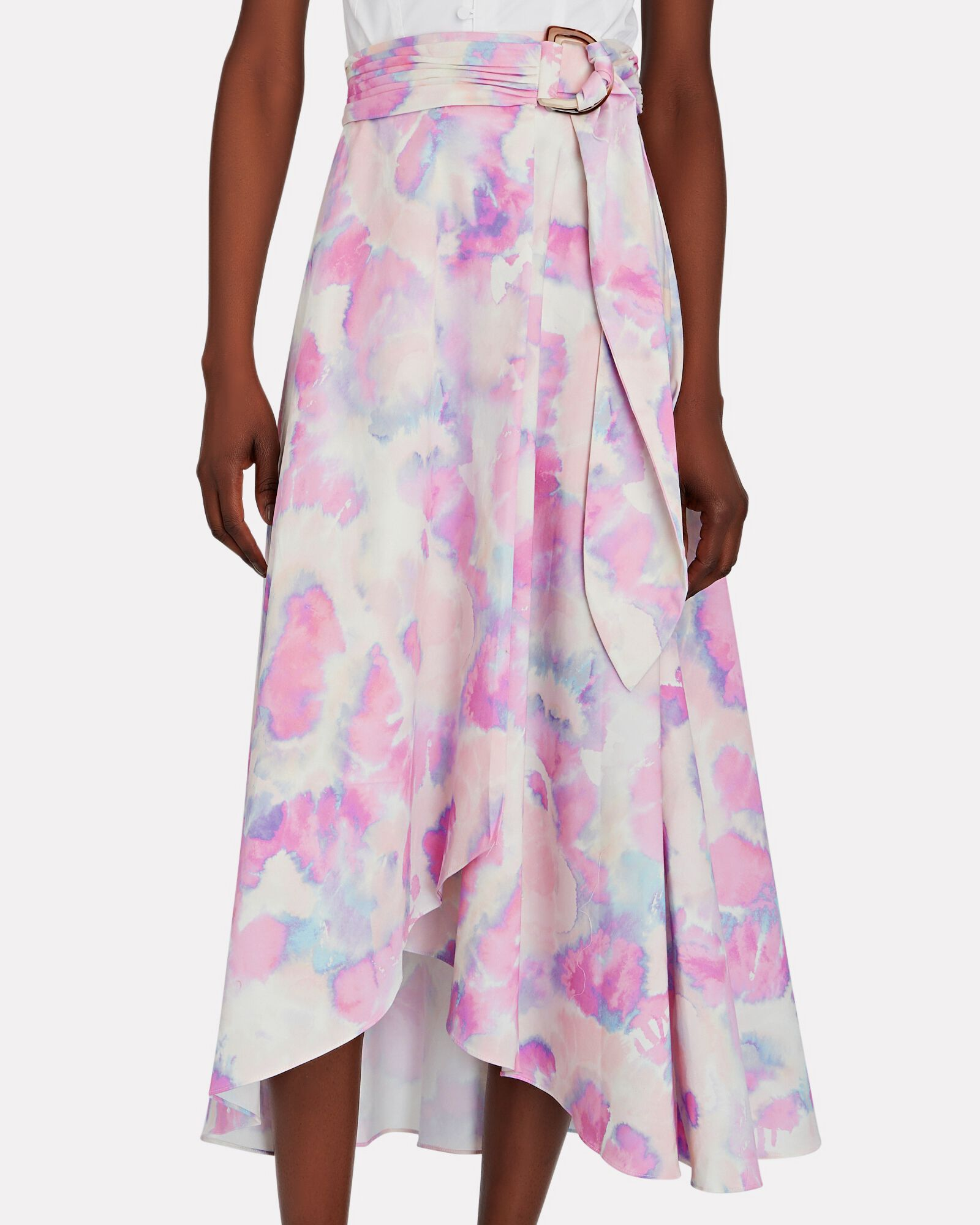 Dolores Belted Watercolor Midi Skirt, LIGHT PURPLE, hi-res