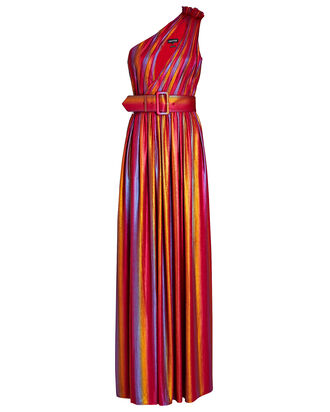 Andrea Rainbow Lamé Maxi Dress, PINK/ORANGE, hi-res