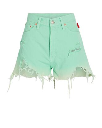 Nic Distressed High-Rise Shorts, MINT, hi-res