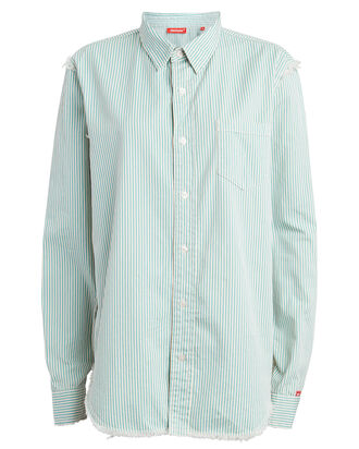 Frayed Cotton Twill Shirt, BLUE/STRIPE, hi-res