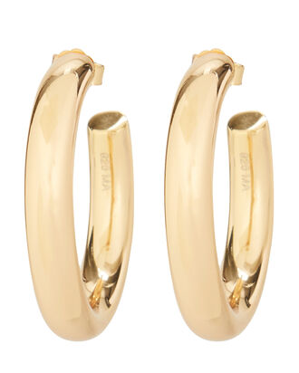Mini Modern Gold Hoop Earrings, GOLD, hi-res