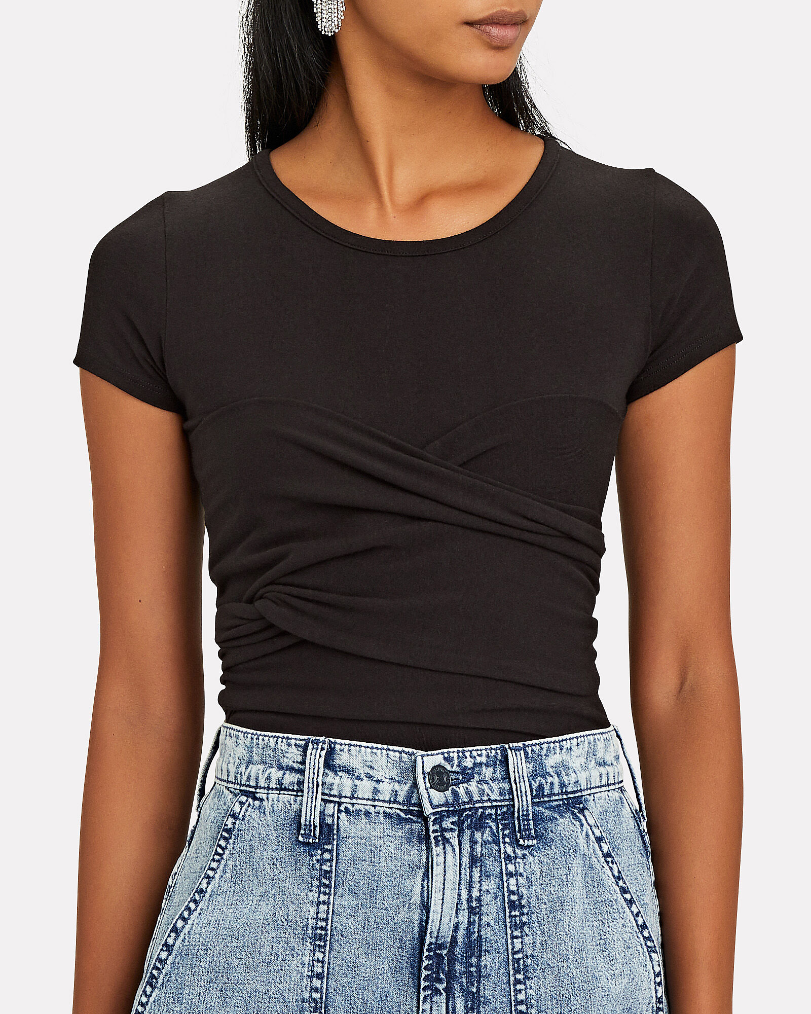 Jeanne Ruched T-Shirt, BLACK, hi-res