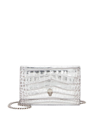 Small Skull Leather Bag, SILVER, hi-res