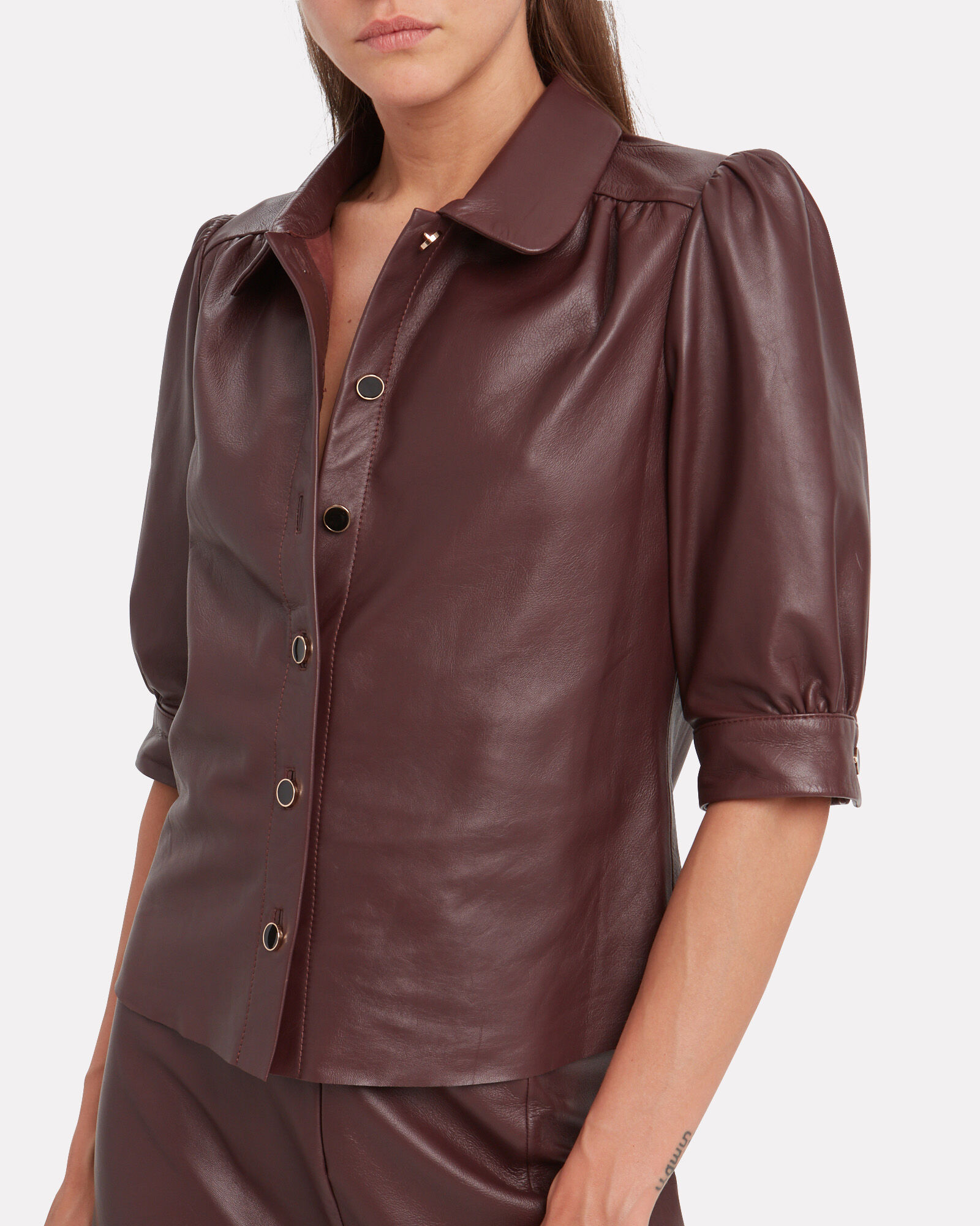 AliahGZ Leather Button Down Top, BURGUNDY, hi-res