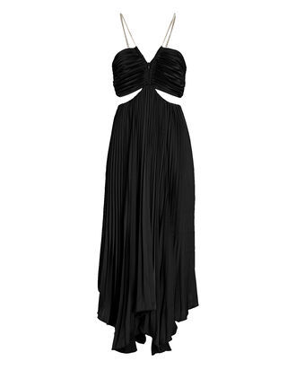 Evie Pleated Cut-Out Midi Dress, BLACK, hi-res