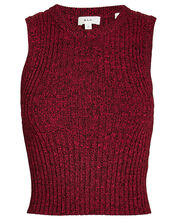 Marie Cropped Knit Tank, RED, hi-res