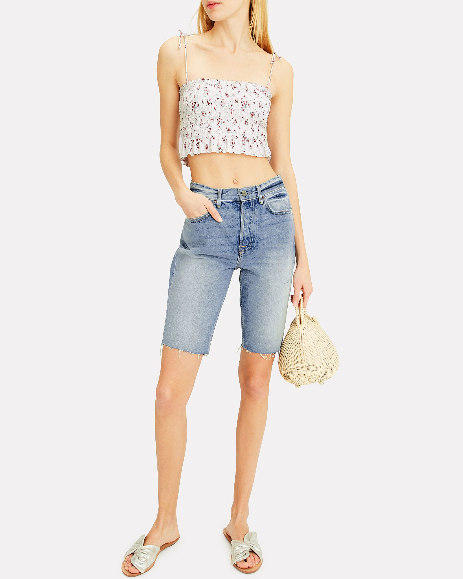 Beverly Denim Bermuda Shorts, DENIM-LT, hi-res