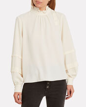 Andrea Ruffled Neck Blouse, CREAM, hi-res