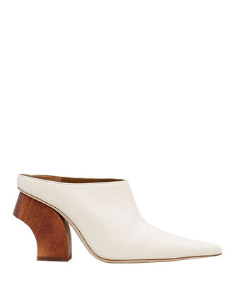 Yasmin Wooden Heel White Mules, IVORY/BROWN, hi-res