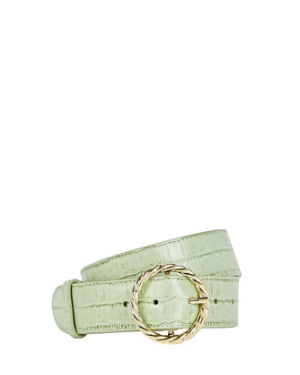 Leo Twisted Circle Croc-Embossed Belt, GREEN-LT, hi-res