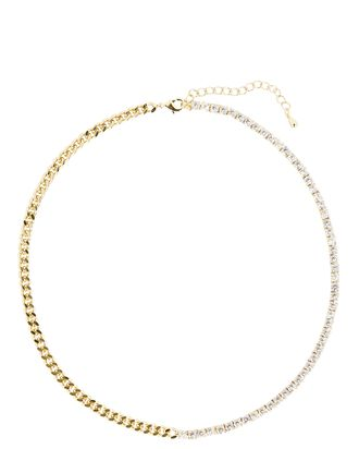 Olivia Chain-Link Tennis Necklace, GOLD, hi-res