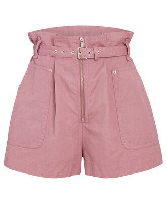 Parana Belted Cotton-Linen Shorts, ROSE, hi-res